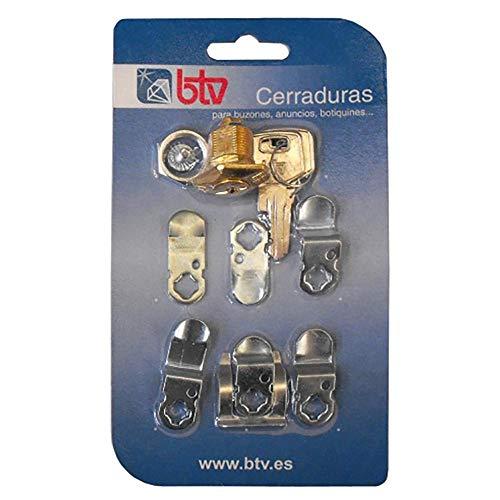 btv 60004 Cerradura buzon Kit-2 Oro, Dorado, 0
