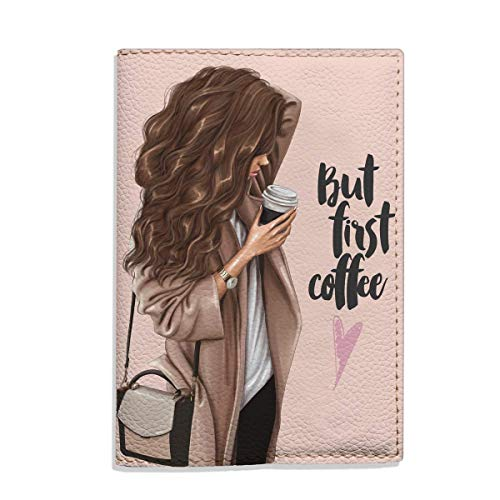 Brunette girl But first coffee passport holder eco leather cover for documents gift idea for woman handmade