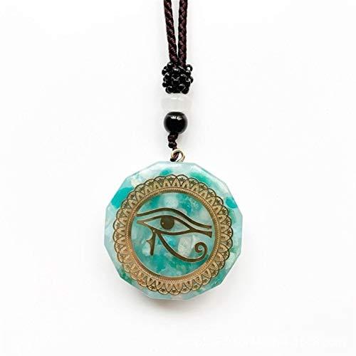 NVFED Horus Eyes All-Seeing Eyes Orgonite Energy Pendant Amazonite Necklaces