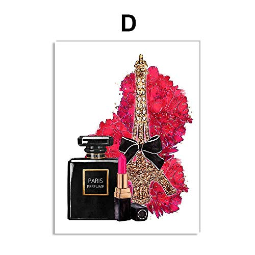 Aya611 Mode Parfüm Paris Tower Flower Lippenstift Wandkunst Leinwand Malerei Nordic Poster und...