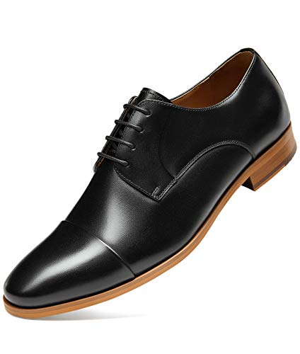 GIFENNSE Herren Kleid Schuhe mit Rindsleder Oxford für Anzug formelle Kleid, Schwarz (schwarz), 43 EU thumbnail