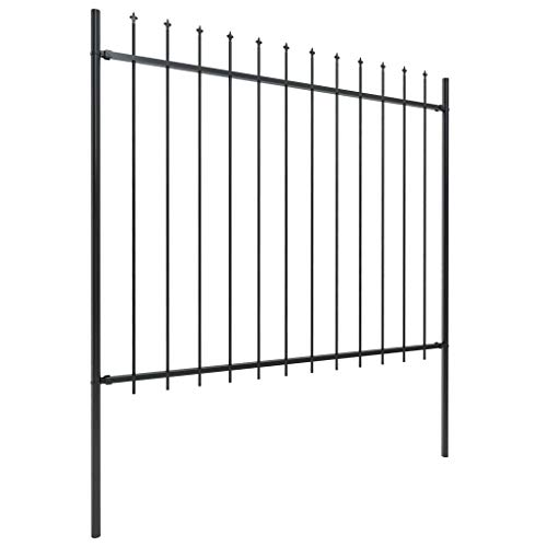 Unfade Memory Outdoor Fence Panels with Spear Top Steel Garden Rustproof Metal Landscape Wire Fencing Patio Fences Animal Barrier (133.9'x59.1')