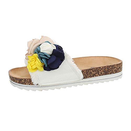 Ital-Design Damenschuhe Sandalen & Sandaletten Pantoletten Canvas Weiß Gr. 39