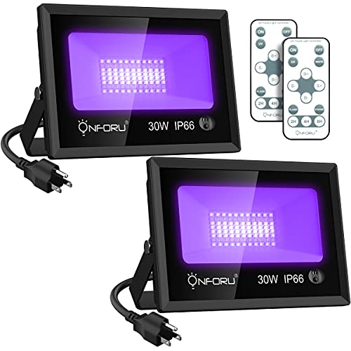 Onforu 2 Pack 30W LED Black Light with Daylight, Black Light Flood Light with Remote, Timing, IP66 Waterproof Outdoor Blacklight for Glow in The Dark, Dance Party, Stage, Fluorescent Poster, Garden