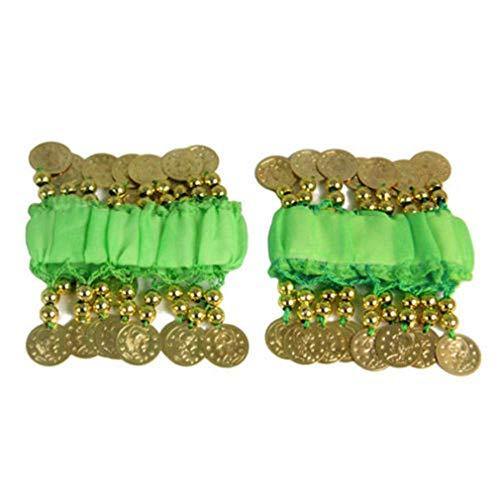 TheBigThumb 1 Paar Bauchtanz Arm Manschette Handgelenk Armbänder, Bauchtanz Manschetten Armband mit 16 goldenen Münzen Frauen Kostüm Zubehör für Tänzer, Grün