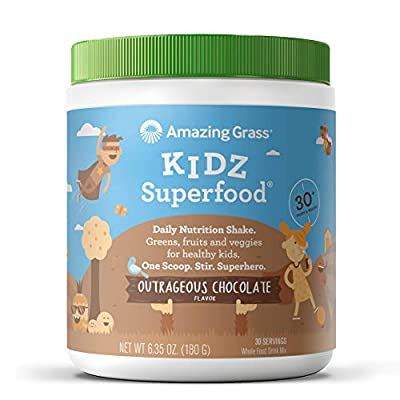 Amazing Grass Kidz Superfood: Organic Greens, Fruits, Veggies & Probiotics for Healthy Kids, Outrageous Chocolate, 30 Servings