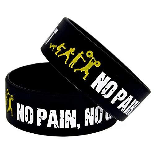 11thGear 2 Pulseras de Pulseras de Silicona de Cita Positiva Motivacional - Everybody Fit No Pain No Gain