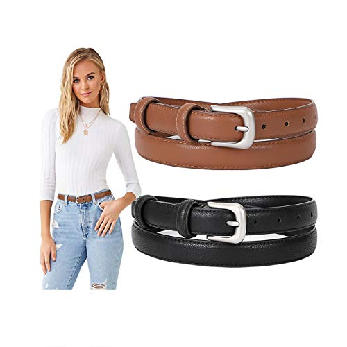 Ladies Skinny Thin Leather Belts for Women Jeans with Pin Alloy Buckle Fashion Waist Belt for Dress Pants Formal Casual,black and brown,24-29