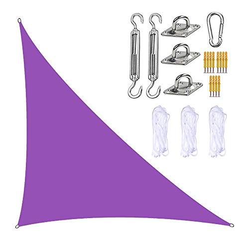 HZYYZH Toldos Exterior, toldo de toldo con Kits de Hardware 3 Cuerdas Impermeable, Bloque UV toldo de Vela de jardín para Patio al Aire Libre Patio Trasero, Jacuzzi,Púrpura,5m x 5m x 7m