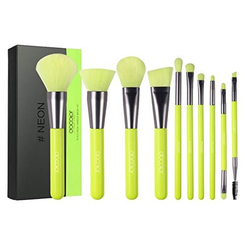 HLIYY 10 Pinceaux Maquillage Professionnels Set Pinceaux Premium avec Poils Synthétiques pour Makeup Cosmétiques, Inclus Pinceaux à Fond de teint, Blending, Blush, Eyeliner et Fard à Paupières