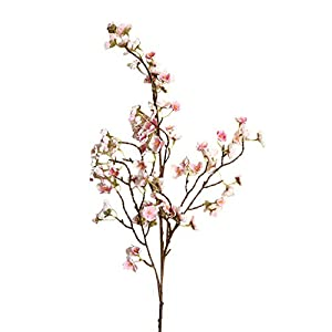Yowein Artificial Cherry Peach Blossom Fake Silk Flower with Glass Vas Head Flower Bulk Arrangement Bouquets for Wedding Home Party Room Table Home Wedding Party Floral Decor Decoration