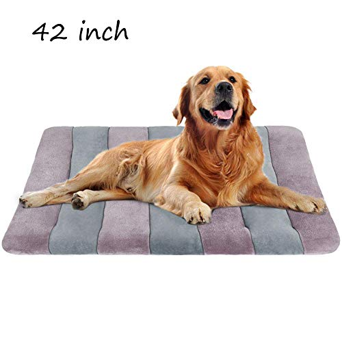"JoicyCo Dog Bed Large Crate Bed Mat 42"" Pet Beds Washable Anti-Slip Bottom Cat Beds Mattress Kennel Pad - 30% Beds customers It Keep V4"
