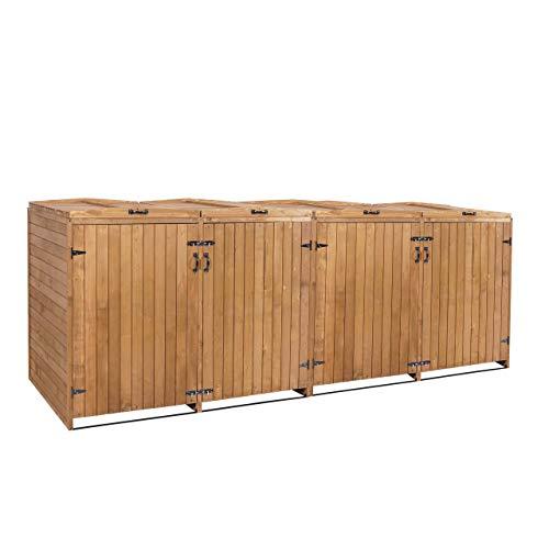Mendler XL 4er-/8er-Mülltonnenverkleidung HWC-H74, Mülltonnenbox, erweiterbar 120x75x96 Massiv-Holz ~ braun