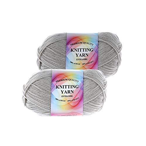 Well Krafty Premium Acrylic Yarn, Snag Free, 4 Ply for Knitting, Crochet and DIY Projects (2 Pack) (Light Gray)