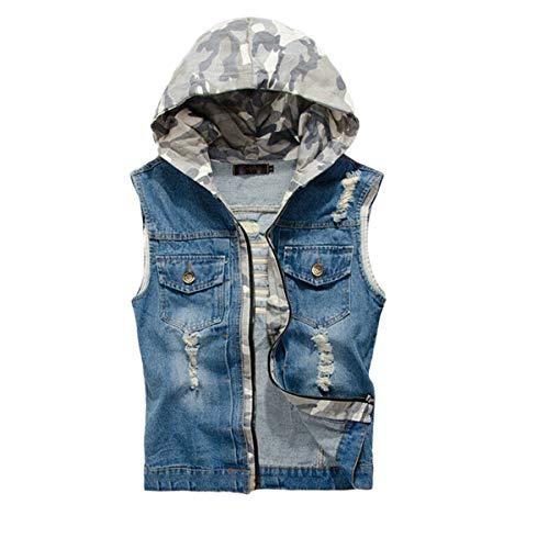 NXLWXN Gilet di Jeans da Uomo Giacca di Jeans Gilet Senza Maniche Camo Felpa con Cappuccio Top Slim da Uomo di Jeans Casual Abbottonata Casual Oversize,Blu,L