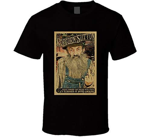 YILUFA Popcorn Sutton Moonshine Hillbilly Likor Distressed Look Poster T-Shirt schwarz Gr. 56, Schwarz
