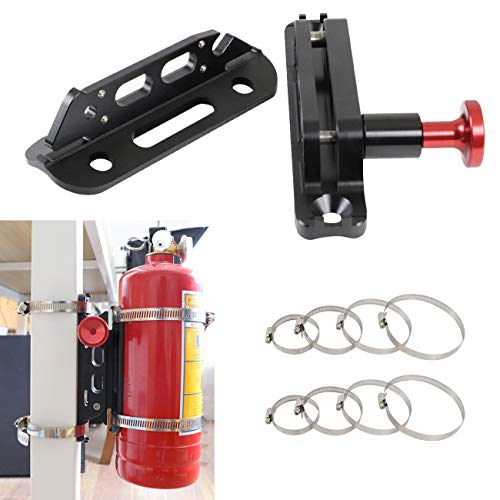 MFC New Multi-purpose Aluminum Adjustable Fire Extinguisher Holder Mount with 8 Clamps(4 pcs extra adjustable rings for spare using) Fit for Jeep Wrangler UTV Polaris RZR Ranger