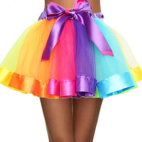 RELBCY Women's Tutu Skirt Rainbow Tulle Bubble Skirt Princess Party Ballet Skirt for Women and Girls (A Colorful)