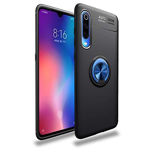 Funda Compatible con Xiaomi Mi 9/Mi 9 SE Teléfono Móvil Silicona Bumper Case Caja con Anillo Giratorio de 360 Grados Rotaria Ring Holder Protectora Caso (Black + Blue, Xiaomi Mi 9)