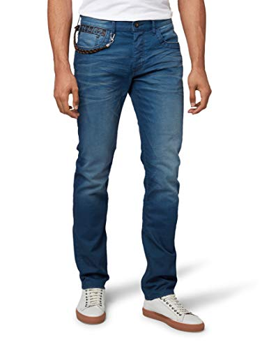 TOM TAILOR Herren Jeanshosen Troy Regular Slim Jeans Washed Coated Blue Denim,33/34