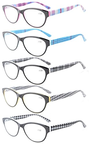 Eyekepper 5-pack Leeser-veerscharnieren Retro Cat-Eye-leesbril dames +1.25