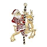 cdzhouji Broche De Navidad Pin Santa Claus con Broche De Venado Broche De Navidad Pines Linda Aleación Muñeco De Nieve Maceta para Niños Mujeres Accesorios De Disfraces
