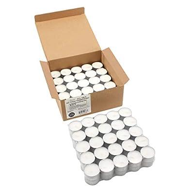 Stonebriar Long Burning 6-7 Hour Unscented Tea Light Candles, White, Bulk 100 Pack, 100 Count