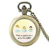 Montre de poche à quartz « Make a Joyfil Noise Unto The Lord Verses de la Bible » Bronze pour homme Pendentif foi chrétienne