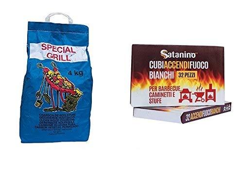 YesEatIs Kit Barbecue 4 Kg Carbobois arbon de Bois+ 32 Allume-feu Blancs Satanino, avec du kérosène
