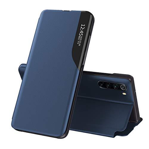 Oihxse Case para Redmi Note 8 Smart View Cover con función stand y cierre magnético, cartera Flip Silicona Transparente Funda de piel Original Cover-Azul