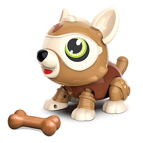 MDGZY STEM Perro Robot Juguete Animal con Huesos, Juguete Educativo e Interactivo para Niños y Niñas de 3 Años, Robot Inteligente Perro para Niños con Tacto Inteligente y Control de Voz marrón