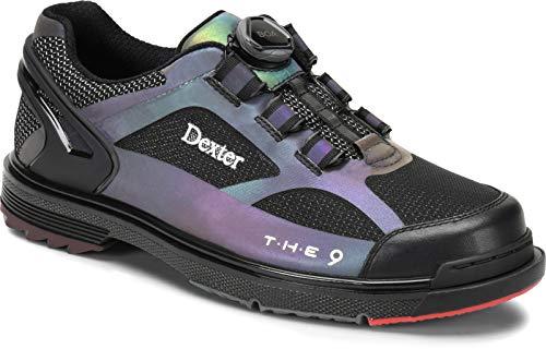 Dexter The 9 HT BOA - Schwarz/Wechselfarben - Bowling-Schuhe Damen und Herren, mit Wechselsohle, BOA Verschlußsystem in den Schuhgrößen 37-46 und Mein-Bowlingshop Schuhtasche im Set Größe 39,5