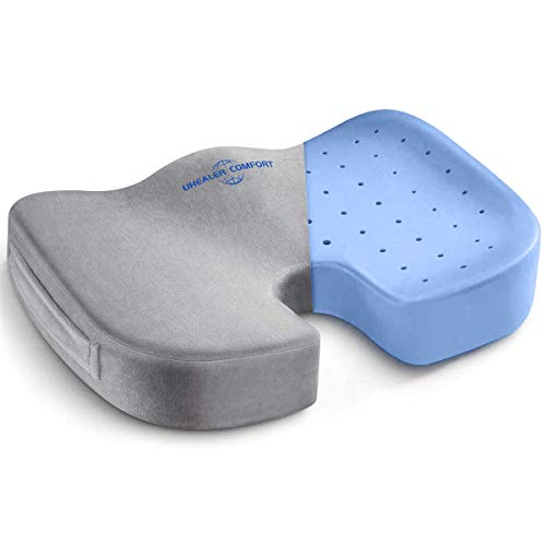 Gel Seat Cushion for Office Chair - Desk Chair Cushion - Tailbone Pain Relief Cushion - Car Seat Cushion - Sciatica Relief Pillow - Coccyx Orthopedic Pad (Gel-Gray)