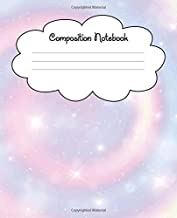 Composition Notebook: 120 Pages of Wide Ruled Paper | Pretty Swirling Pastel Rainbow with Sparkles in a Starry Sky Journal