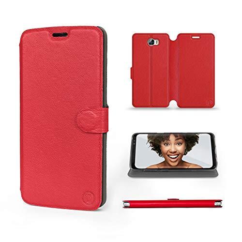Mobiwear | Echt Lederhülle | Kompatibel mit Huawei Y6 II Compact, Made in EU handyhülle, Slim Leather Hülle, Premium Flip Schutzhülle, Transparent TPU Silicon, Book Style, Tasche - Rotes Leder
