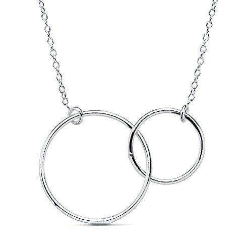 Iyé Biyé Jewels - Collar Colgante Mujer niña Plata de Ley 925 Dos Aros Cadena Forzada 45 cm Ajustable.
