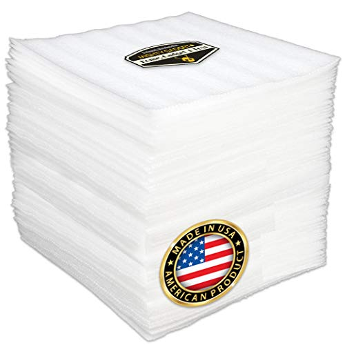 100 Pack of Mighty Gadget (R) 12' X 12' Foam Wrap Sheets, Safely Wrap Dishes, China, and Furniture, Foam Wraps Cushioning for Moving Storage Packing and Shipping Supplies, 100-Pack (White)