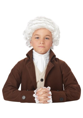 California Costumes Child Colonial Man Wig Standard White