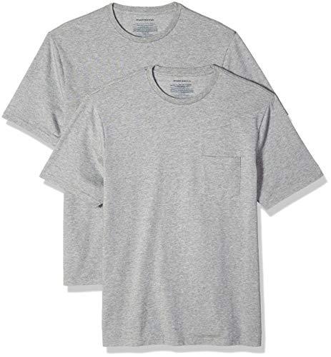 Amazon Essentials - Confezione da 2 magliette a maniche corte da uomo, vestibilità comoda, con taschino, Grigio (Heather Grey Hea), US S (EU S)