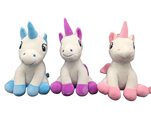 ML Peluche Unicornio para niños 26cm - Felpa Fina y Suave (Blanco-Azul)