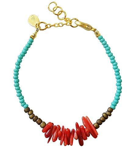 Smilla Brav® Korallen Türkis Edelstein Ibiza Damen-Armband Leandra - hellblaue Rocailles - MM10