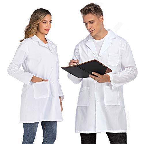 Enjoyoself Laborkittel Weiß Damen Baumwolle Medizinische Mantel Pflege Arbeitsjacke Fasching Berufsbekleidung Arzt Kostüm,für Damen,S