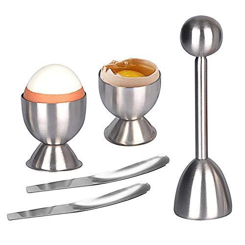 AMAYGA Kitchen Rompi Guscio Uova in Acciaio Inossidabile Taglia Guscio Sgusciatore per Uova Sode o alla Coque con Accessori da Cucina (2 Portauovo e 2 Cucchiai)