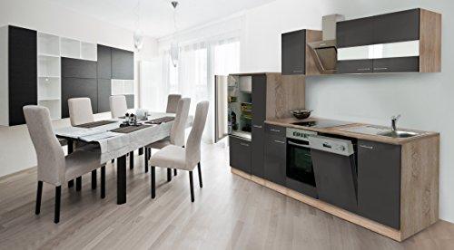 respekta inbouw keuken kitchenette 310 cm eiken Sonoma ruw gezaagd front grijs keramische & designer schuine kap