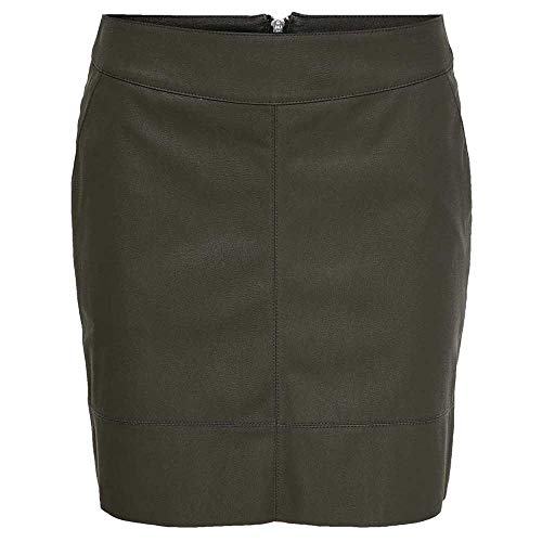 Only Onlbase Faux Leather Skirt Otw Noos Falda, Gris (Peat Peat), 40 para Mujer