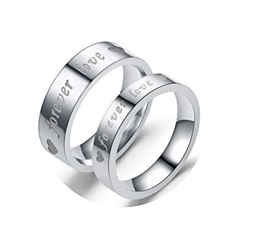 KnBoB Ringe 2PCS Ringe Herz Graviert Forever Love Silber Damen Gr.49 (15.6) & Herren Gr.60 (19.1) Edelstahl Ringe