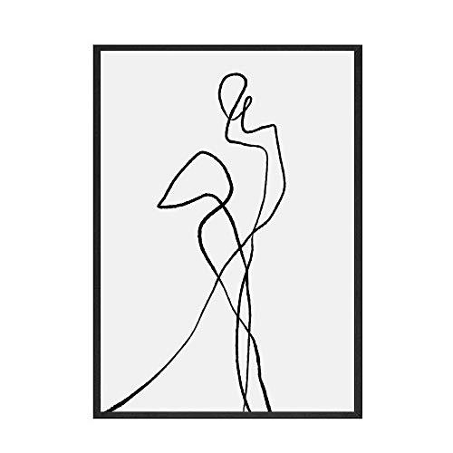 Abstrakte einfache Kurvenmalerei Schwarzweiss-Illustrationsplakat und Druckfamilie rahmenlose Leinwandmalerei C 40x60cm