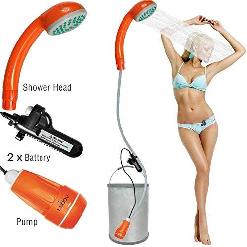 FLYFISH Tragbare Campingdusche, kompakte Duschpumpe mit 2 abnehmbaren USB-Akkus, Handbrause für Camping, Wandern, Reisen, Notfälle