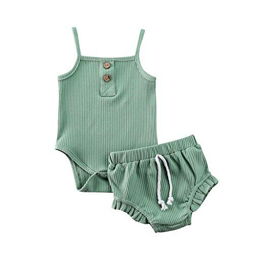 LEXUPE Neugeborene Baby Strap Solid Strampler Tops Shorts Hosen Set Sommer Outfits(Grün,90)