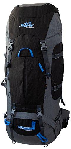 Tashev Outdoors Mount Trekkingrucksack Wanderrucksack Damen Herren Backpacker Rucksack groß 80l Plus 15l mit Regenschutz Grau & Schwaz & Blau (Hergestellt in EU)
